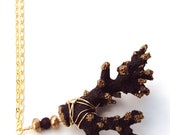 Brown Coral Pendant Necklace, Nauticcal Jewelry, Nature Inspired, Beach, Ocean, Gold, Espresso,