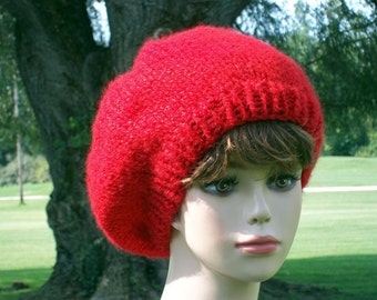 Slouch Hat Women Knit Red