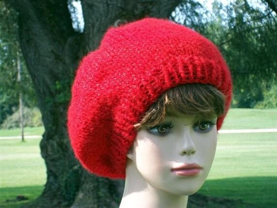 Slouch Hat Women Knit Red