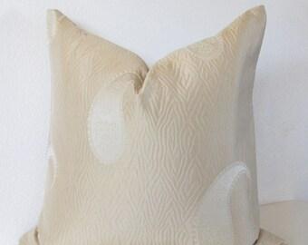 Brunschwig & Fils - Gold silk paisley - 18x18 pillow cover - high end designer pillow cover