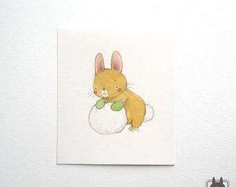 Bunny rabbit holiday decoration - original illustration - snowy Christmas art - snowball
