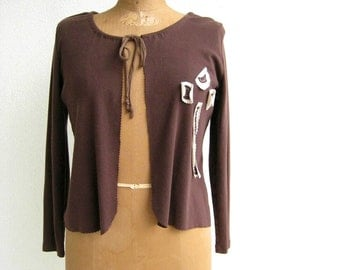 Womens Cardigan Women's TShirt Cardigan Tee Cardigan Brown Size S Handmade Cardigan Long Sleeve Cotton Cardigan Autumn ohzie