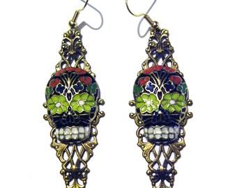 Day of the Dead Sugar Skull Earrings Gothic Skeleton Black Red Blue Enamel