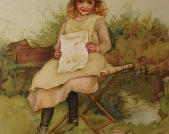 A Rough Sketch, girl holding a painting of a goose, Lizzie Mack original book page from A Christmas Tree Fairy, with poem