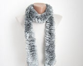 Gray Knit Scarf,Frilly scarf,Scarf,Ruffle Scarf,Lace Scarf