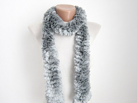 Gray Knit Scarf, Frilly  Scarves, Knitting Ruffle Scarf, Lace Curly Accessories, Women Neckwarmer, Autumn