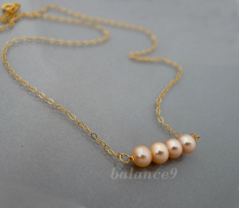 Peach Pearl Necklace: Pearl Necklace Row Of Pearls Necklace Small Peach Pearl
