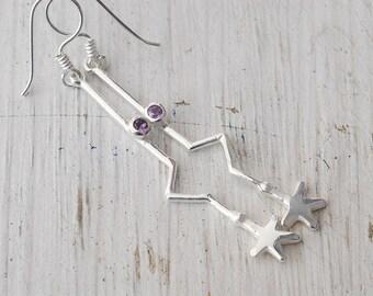 Star Earrings, Long Drop Silver Star and Amethyst Minimalist Earrings, Geometric Everyday Earrings, Funky Hipster Earrings, Star Jewelry
