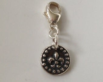 Fleur De Lis Oxidized, Sterling Silver, Clip on Charm fits Thomas Sabo