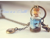 Ocean in a Bottle necklace,Glass bottle pendant with Shells Vial necklace shell Bottle.Sea bottle miniature bottle pendant,nautical necklace