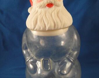 Santa Claus Plastic Candy Jar Artglas