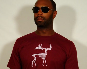 SALE Zombie Moose on 100% Cotton Maroon T - Shirt - Available in S, L, and XL