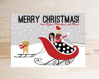 Custom Christmas/ Holiday Card- illustration