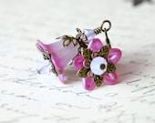 Shimmering Pink Lucite Flower Earrings, Fairy Earrings