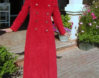 Vintage 70s Maxi Coat Long Red MOD Carnaby Street Style - Medium - CLEARANCE