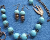 SET - Turquoise and Copper Necklace with Copper Bird- Matching Earrings