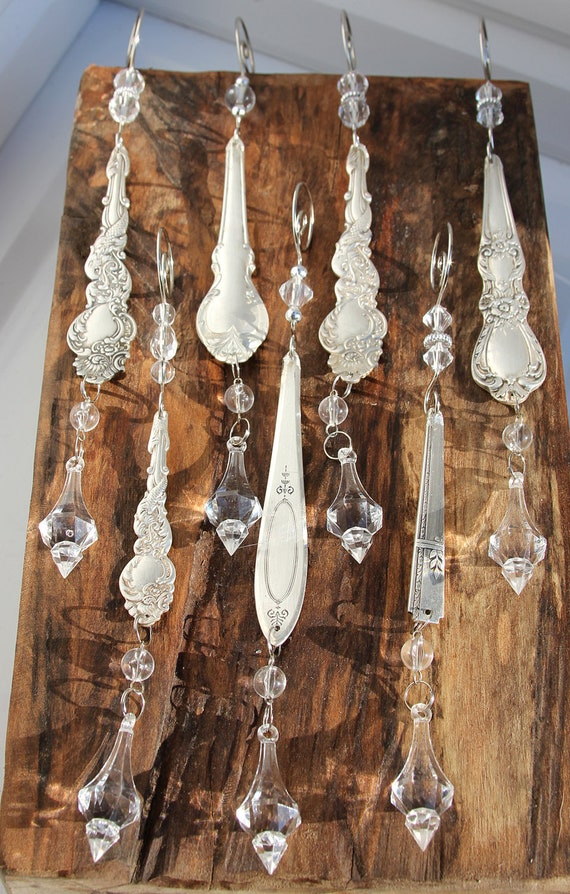 Silver Spoon Icicle Ornaments - set of 2 - Upcycled, Antique and Ornate  - SALE