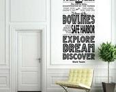 Explore Dream Discover - Mark Twain - Vinyl Wall Mural Decal - typography design
