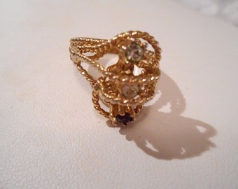 Vintage ring, designer ring, 14 Kt.HGE ring, ornate dinner ring, size 8 & 1/2  ring