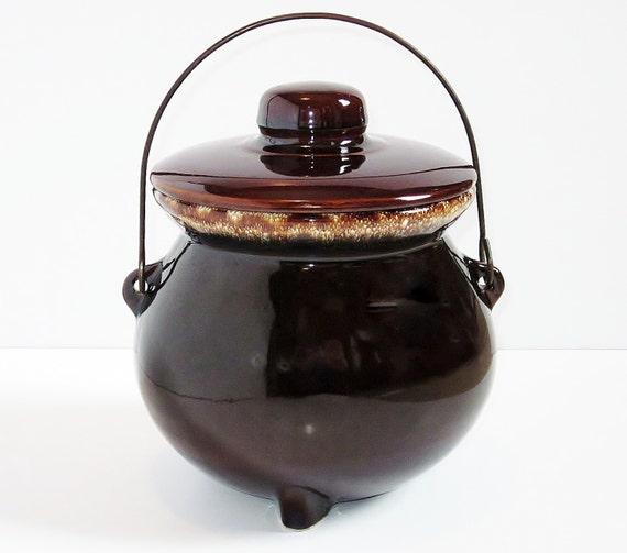 Bean Pot Cauldron Footed Stoneware Vintage