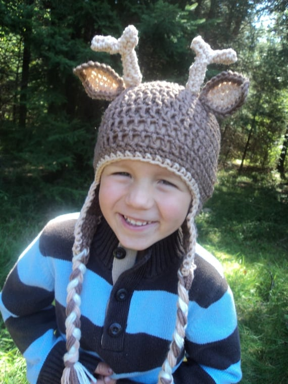 Deer Hat- buck- antler hunting antlers whitetail 4 pointer- newborn to 18 month sizes