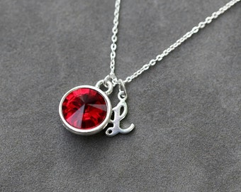 January Birthstone Jewelry, Initial Necklace, Custom Jewelry, Sterling Silver, January Garnet Jewelry, Crystal Birthstone Necklace