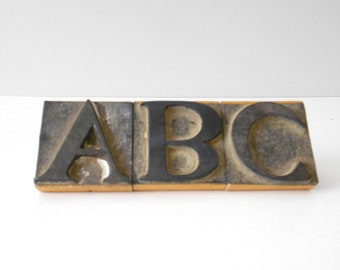 vintage large antique wooden alphabet letter stamp / monogram / diy