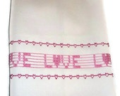 Towel Home Decor Swedish Weaving Huck Pink Love