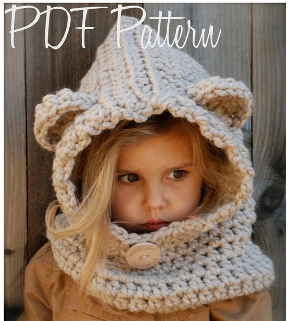 Free Crochet Pattern Toddler Hooded Cowl : CROCHET PATTERN Baylie Bear Cowl 3/6 months 6/12 months