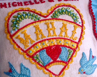 Customized Mini Embroidered Love Heart and Bluebirds Wedding Pillow Heirloom Gift