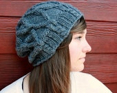 Cabled Slouch Beanie in Oxford Grey - Ready to Ship