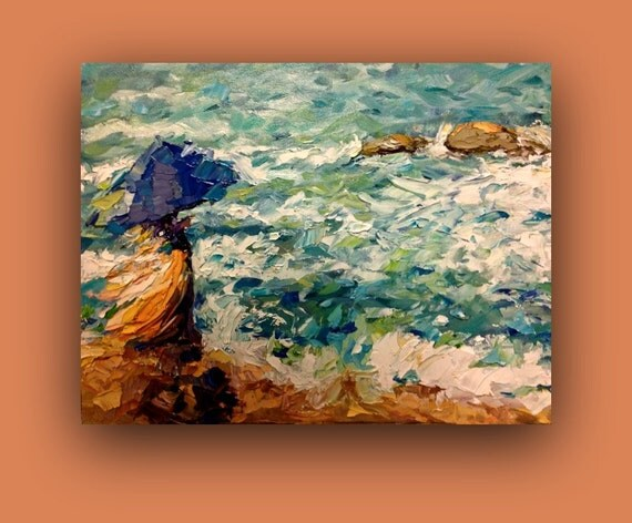 Oil Painting, SEA VIEW - original Oil painting, #EtsyGifts, #EtsySuccess, impressionistic, ocean, water, beach, umbrella - signed by DanaC