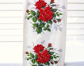 Vintage Table Cloth Runner Red Rose Fabric Roses Tablecloth Red Green White