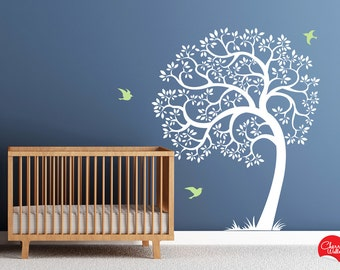 Tree Wall decal AMAZING tree removable vinyl decal. Nursery Decor tree decal and birds Wall Decals, Mural