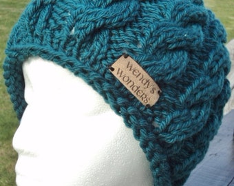 Hand Knitted Winter Cable Hat, Women's Cable Cap