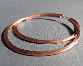 Copper Hoop Earrings with Posts - Any Size Custom Handcrafted Hoops - Sterling Silver Post