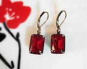 Ruby Red Earrings Vintage 1950's West German Ruby Red Glass Jewels, New Settings, Ruby Earrings July Birthstone Gift Idea Christmas