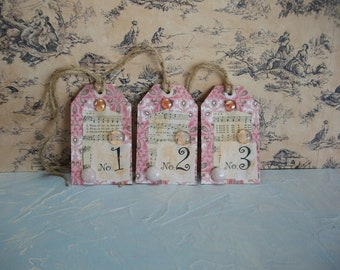 Gift Tags Numbered Handmade Vintage Style Tag Label Set, Sheet Music Cottage Tag Embellishment - Book Page Art - Christian