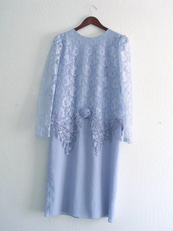 Romantic Vintage Sky Blue Lace and Chiffon Dress