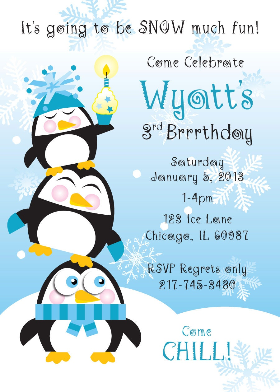 Penguin Birthday Party Invitation For Kids