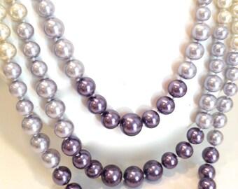 Ombre Pearl Lavender Purple Pearl Multistrand Pearls 3 Strand Pearl Necklace Long Multi Color Pearl Necklace  Ombre Pearls