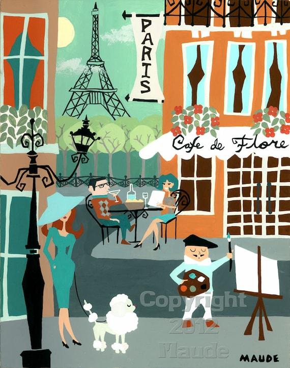 Paris France Mid Century Modern Travel Art Poster Retro