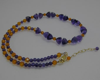 Amethyst and Baltic amber necklace: charity donation