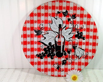 Retro Round Red Oversized Metal Tray - Vintage Marcelline Painting - Shabby Chic / BoHo Bistro Serving / Display