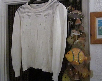 Beautifully Fenestrated White Knit Sweater, Vintage - Large