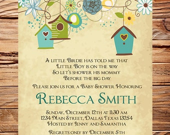 Baby Shower Invitation, Bird houses Baby Shower Invitation, Boy, Girl, Vintage Baby Shower Invite, Birds, Brown, Pink, 1056
