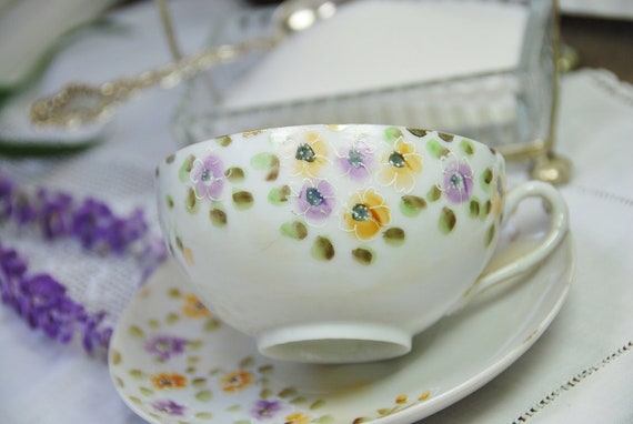 Sweet Vintage Tea Cup and Saucer, Hand Painted,  Purple Yellow Flowers, Japan