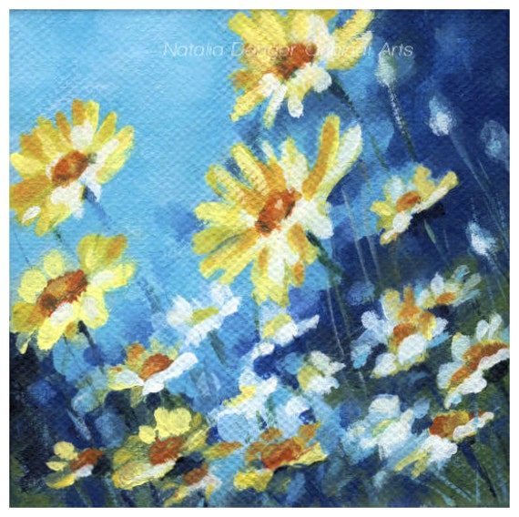ORIGINAL Painting, Summer Field, Daisies, Wild Flowers, Orange, Yellow Flowers, Blue Sky, Turquoise
