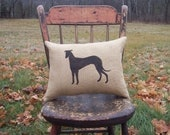 Greyhound Pillow - Greyhound Silhouette Burlap Pillow - Decorative Pillow - Custom Dog Pillow - Dog Home Decor - Choice of Colors