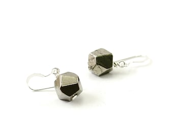 Natural stone earrings: pyrite earrings, sterling silver earrings metallic industrial chic gray stone earring, dangle, small, rustic